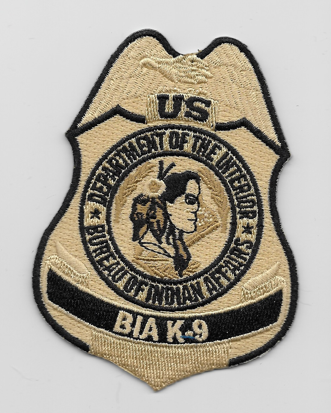 BIA Bureau Indian Affairs k9 patch Tan & Black