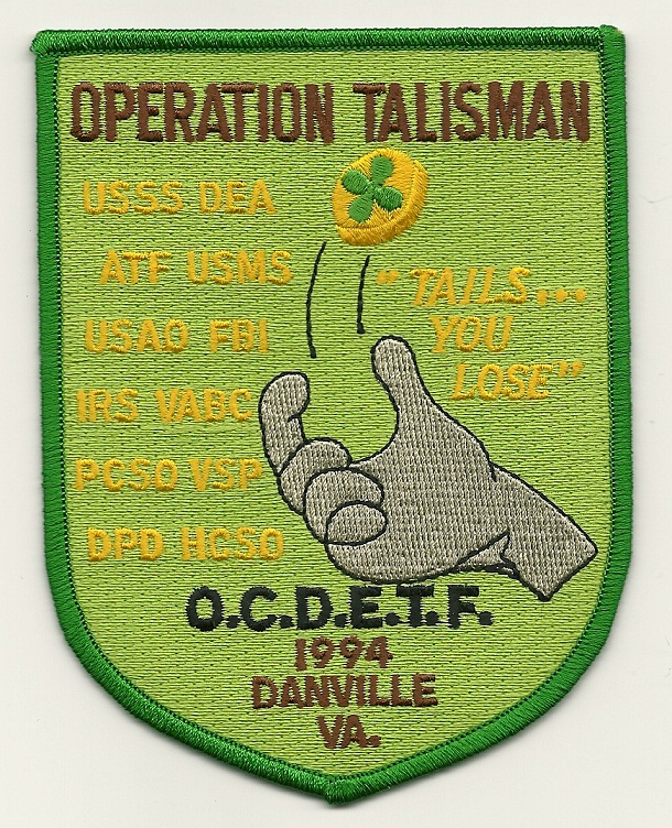 DEA USMS ATF Operation Talisman Virginia VA patch OCDETF
