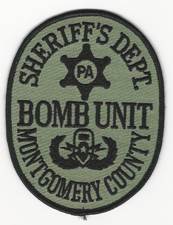 Montogmery County Sheriff Bomb Squad EOD Pennsylvania PA Green patch