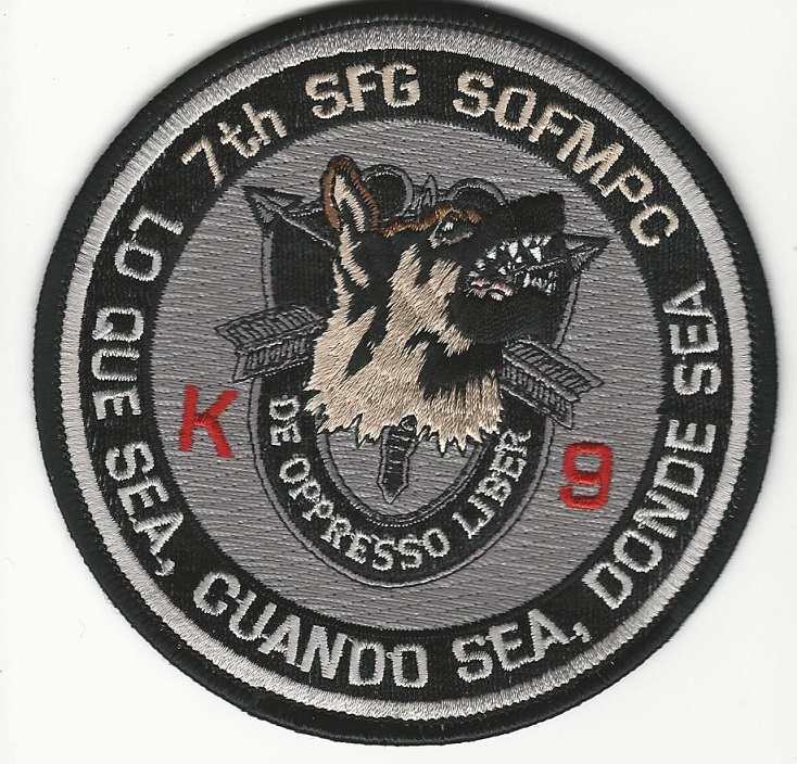 US Army Special Forces k9 k-9 Black patch 7th SFG (USS Sticker)