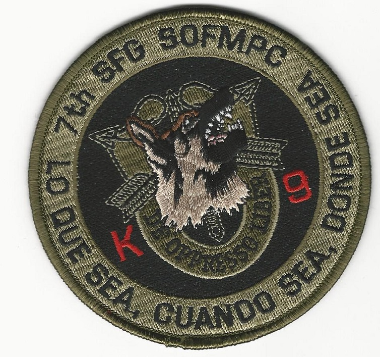 US Army Special Forces k9 k-9  Green patch 7th SFG (USS Sticker)